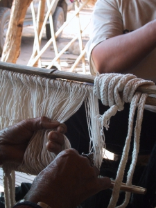 Closeup of Threading the Heddles