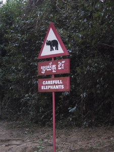 Angkor Wat Elephant Crossing Sign