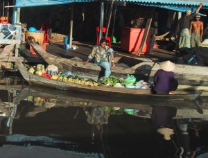 Cambodia Shopping By Boat