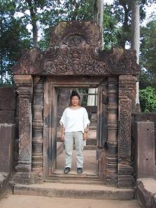 Tien in a Banteay Srei Doorway