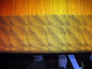 Closeup of the pattern on the loom.