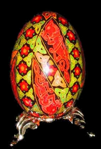 Painted Egg Celtic Dogs 2 Side View