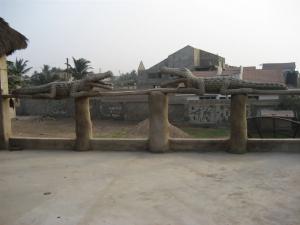 Concrete crocodiles at Aba House, Ghana