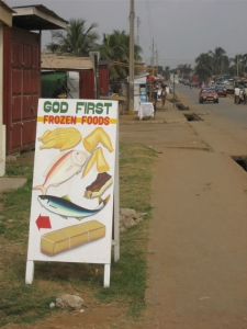 """God First Frozen Foods"" sign in Ghana"