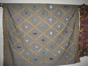A diamond kente with animal patterns