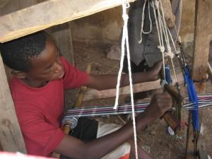 Tied-resist weaving
