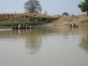 Fording the river to Daboya
