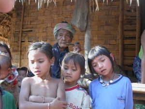 Old Grandma With Young Kids, Tobacco Pipe