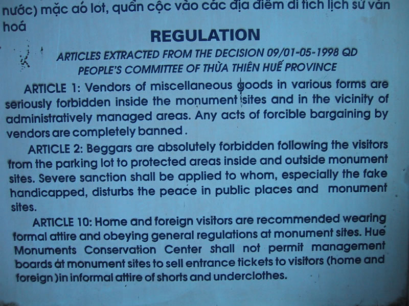 Rules for Tombs