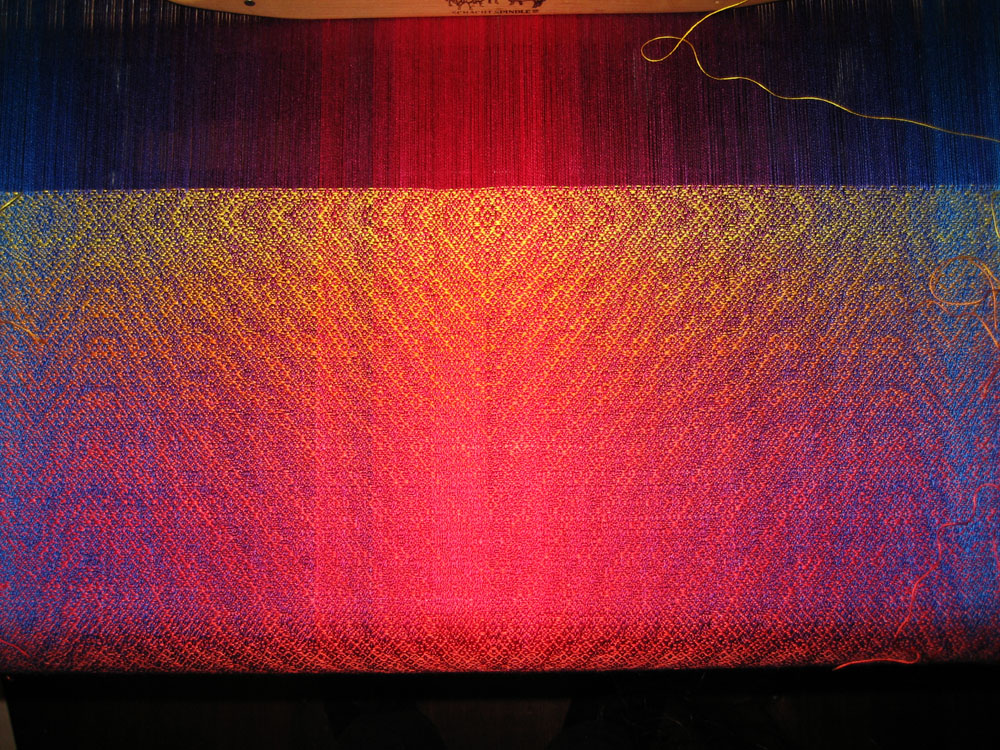 gradual color changes in handwoven shawl