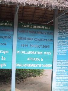 Angkor Restoration Sign