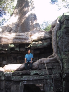 Tien with Ta Prohm Tree Roots