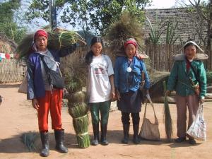 Akha Women Carrying Reeds
