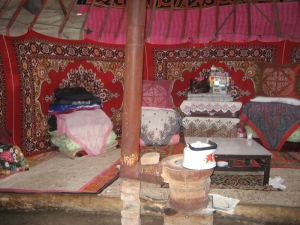 Inside Of A Yurt in Tian Chi Region