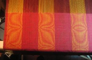 Garnet shawl on the loom