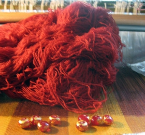 Garnet weft shown with beads