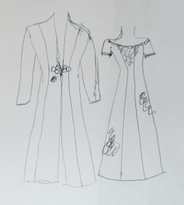 Initial sketch of wedding ensemble
