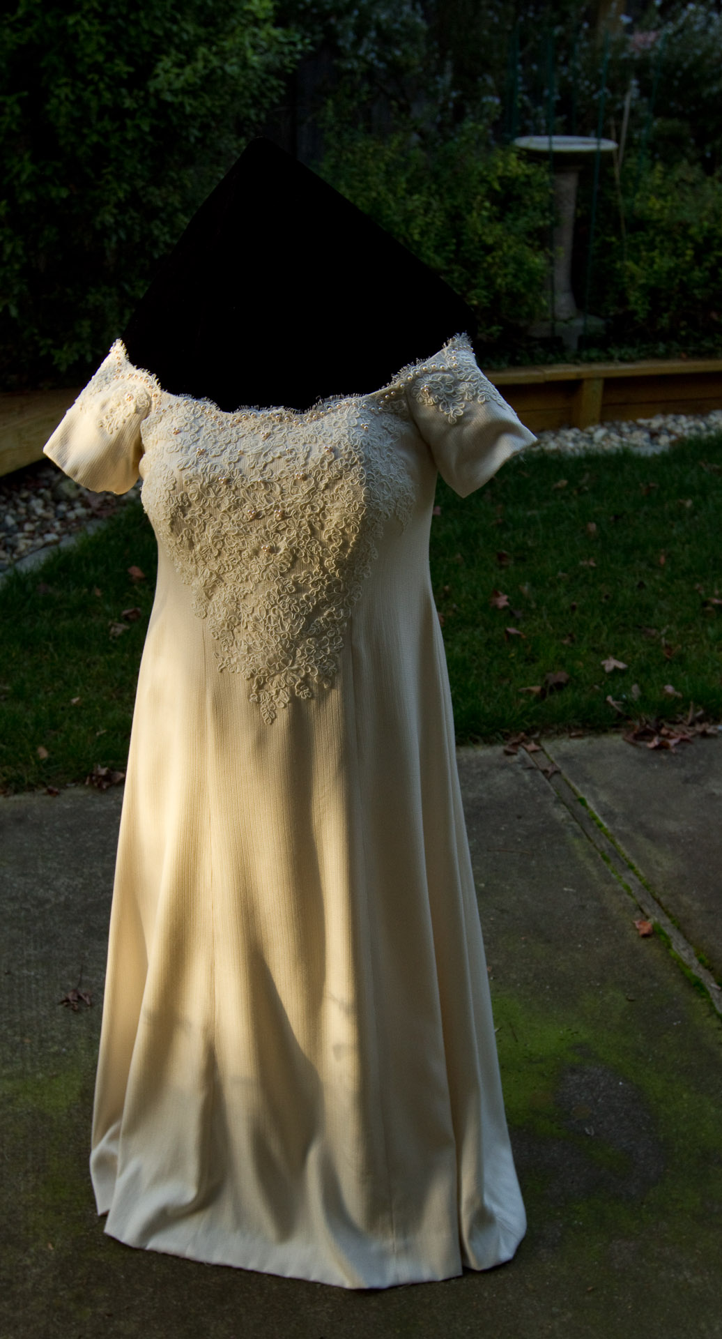 handwoven wedding dress on dress form