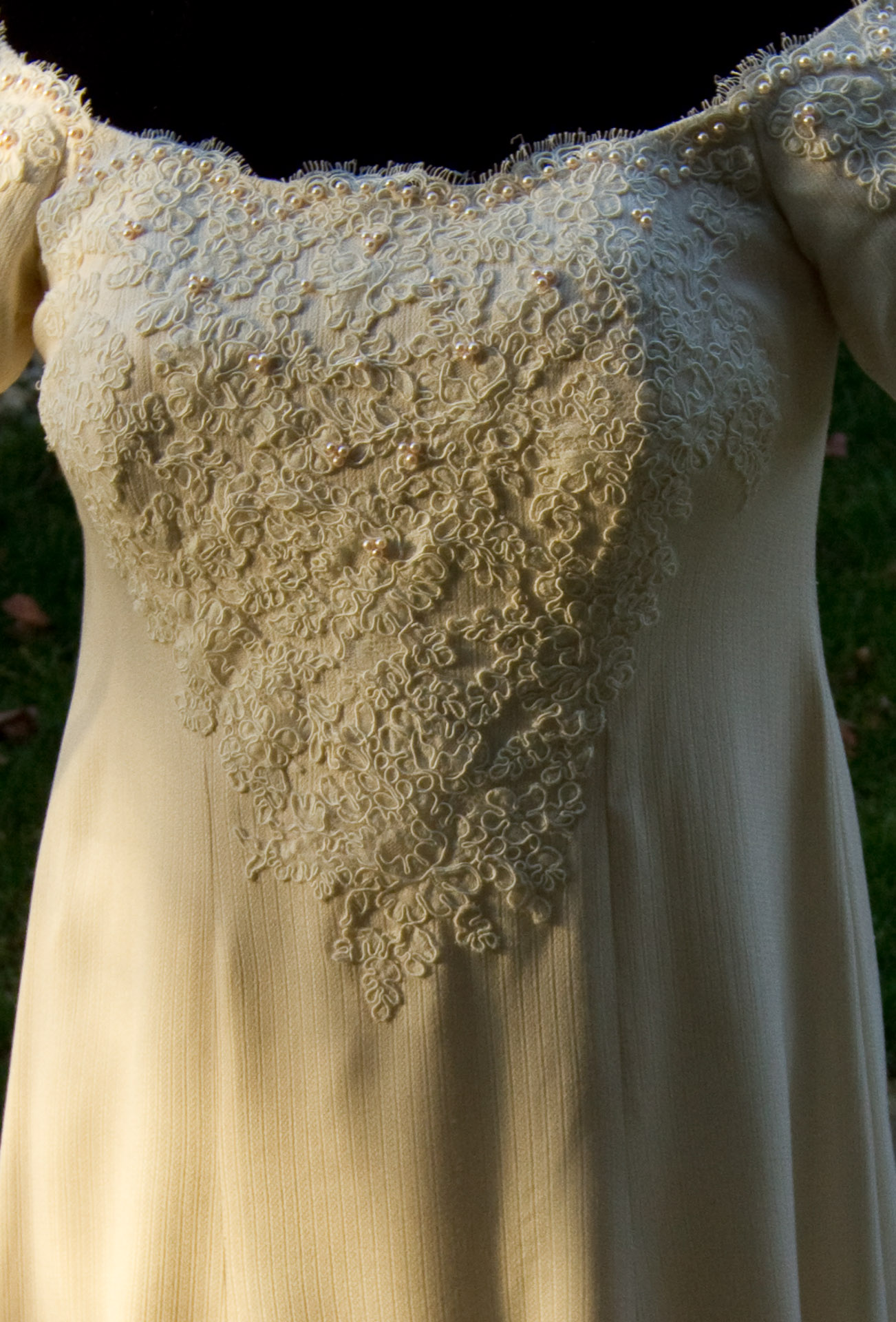 Bodice of handwoven wedding dress