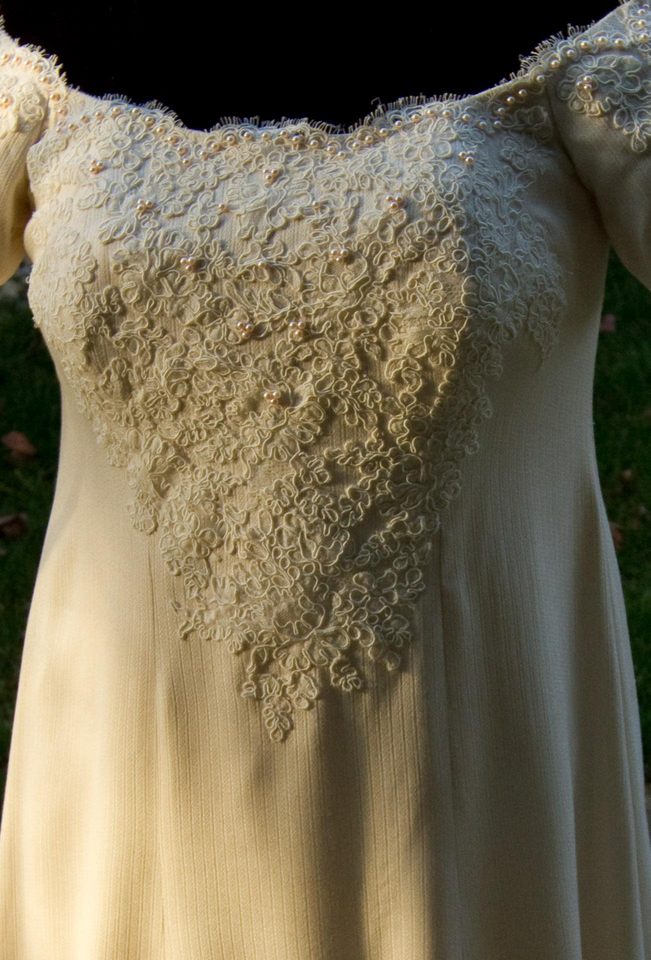 Bodice of handwoven wedding dress