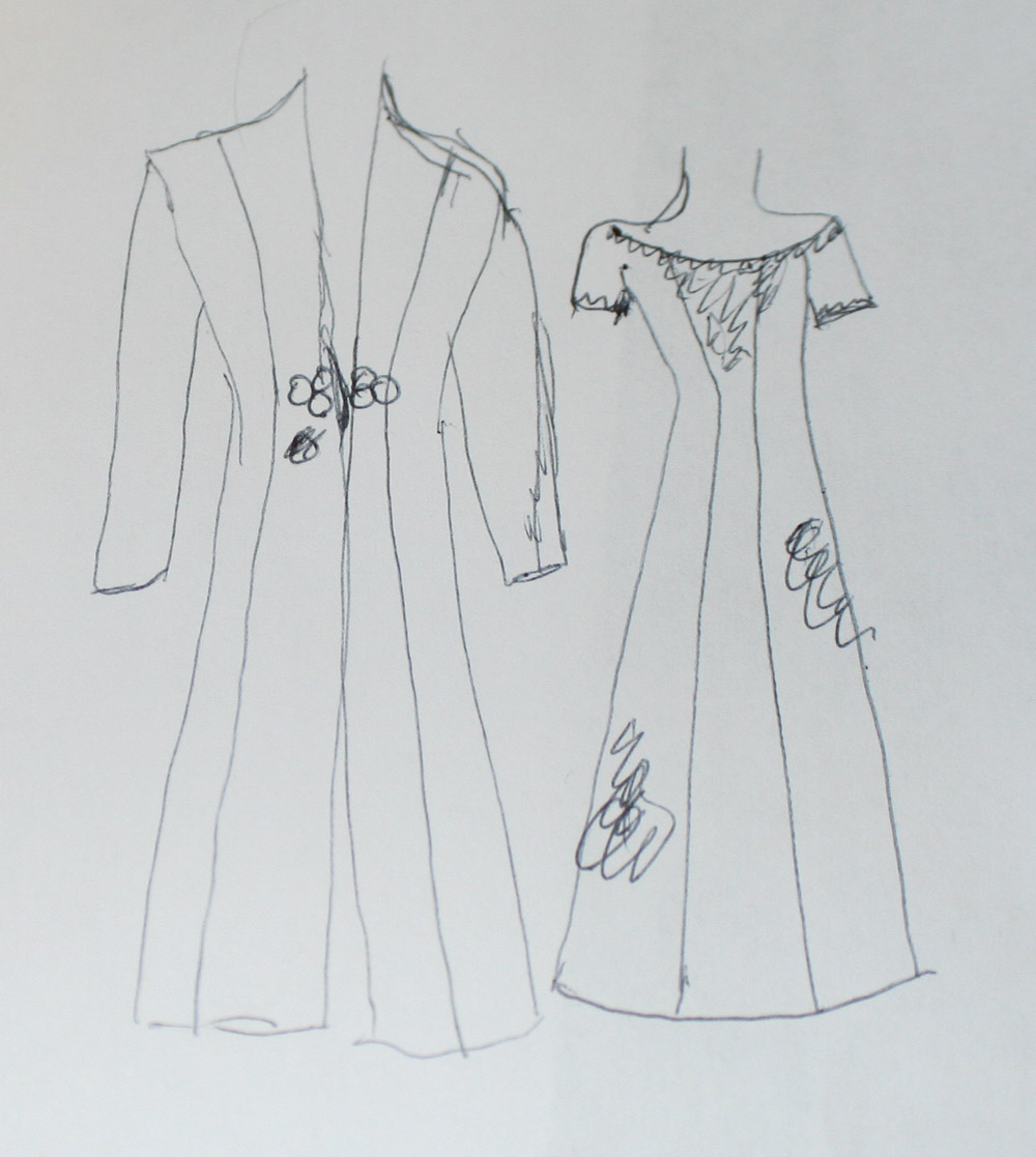 Initial sketch of the wedding dress