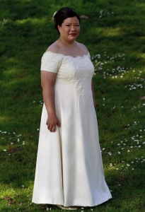 three-quarter view of (essentially) complete dress