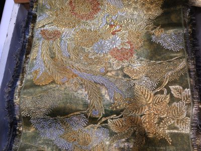 fabric woven with lacquered paper!