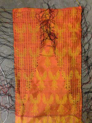 Tied sample for woven shibori to make crimp cloth