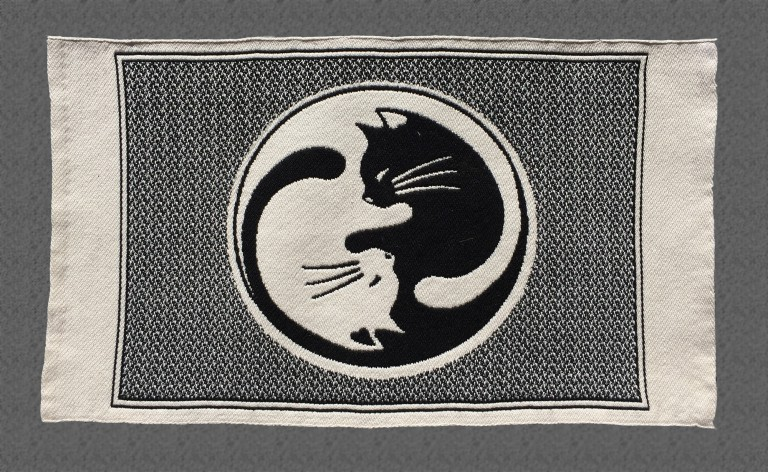 cat placemat, white side